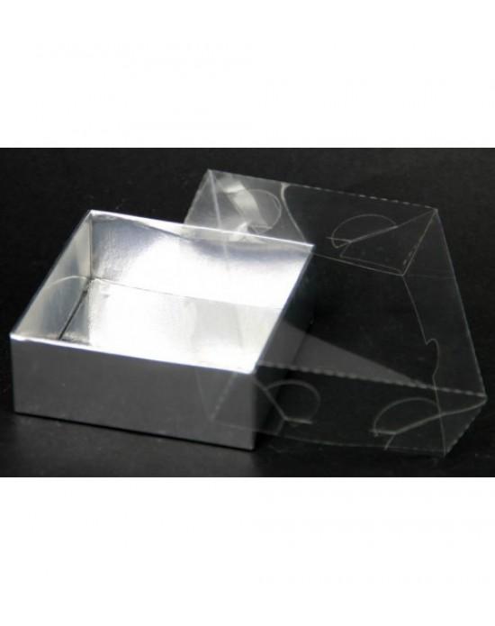 Desenli Asetat Kutu Gümüş 8x8x3 Cm (10 Adet)