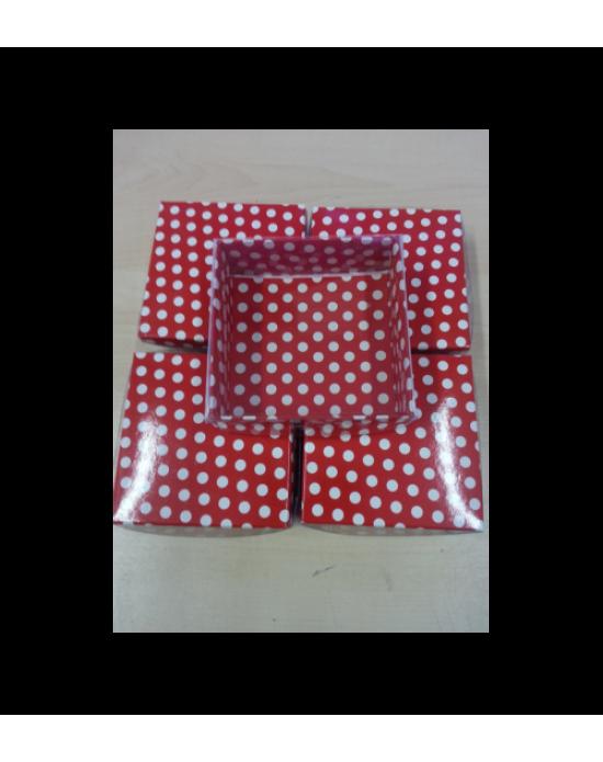 Desenli Asetat Kutu Kırmızı Puanlı 8x8x3 Cm (10 Adet)
