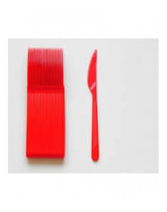 Plastik Bıçak Lüks Kırmızı 25 Adet