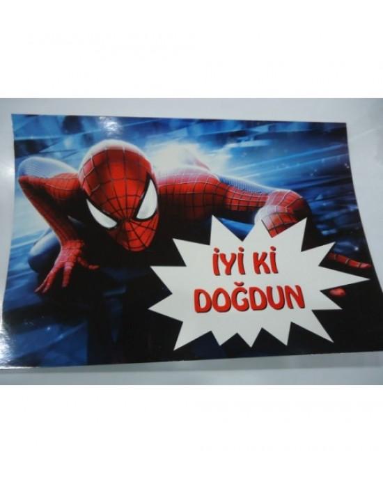Karton Yazı Tek Taraflı Spiderman
