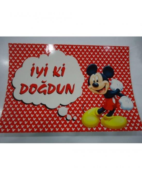 Karton Yazı Tek Taraflı Miki Mouse