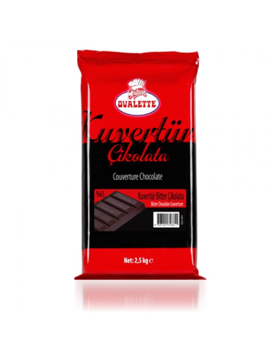 Ovalette Kuvertür Bitter Çikolata %65 2,5 Kg.